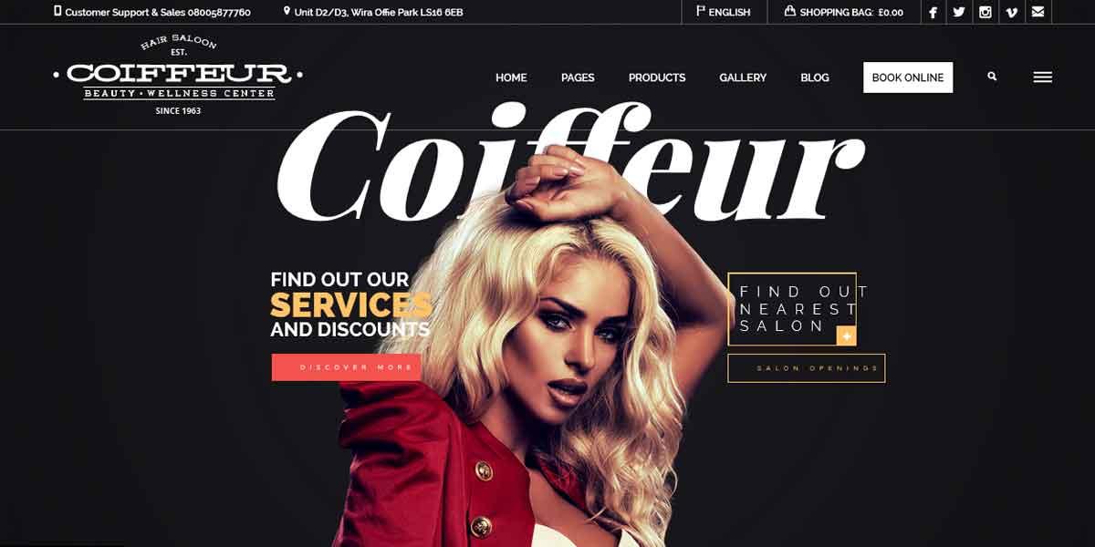 WordPress шаблон для сайта салона красоты - Coiffeur