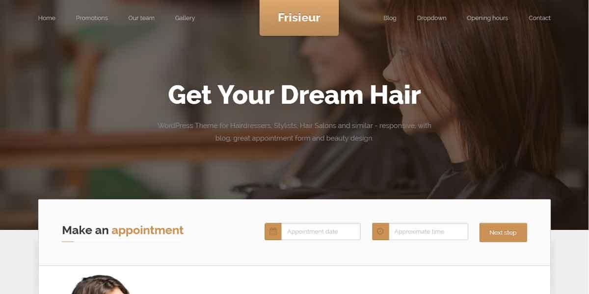 Frisieur - стильный WP шаблон для сайта парикмахерской