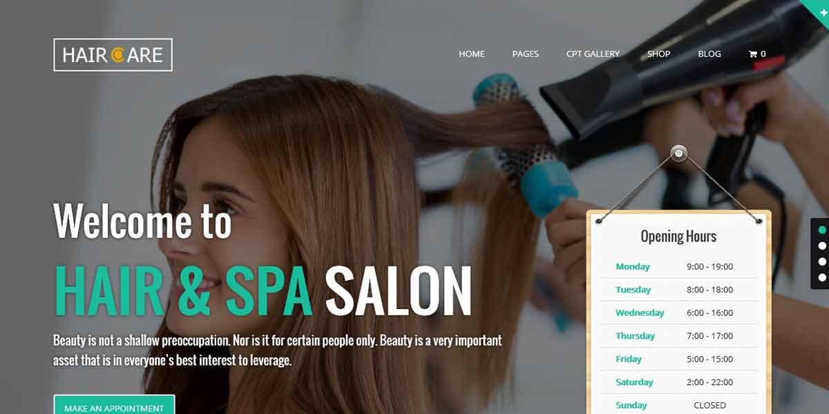 Многоцелевой WordPress шаблон для салона красоты - Hair Care
