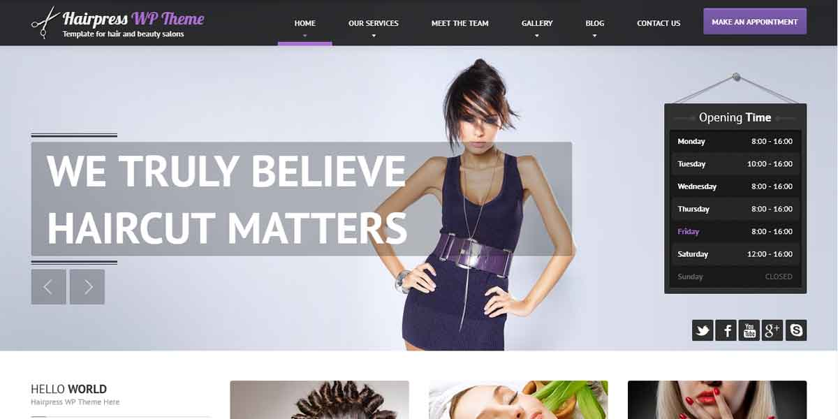 WordPress шаблон для сайта парикмахерской - Hairpress