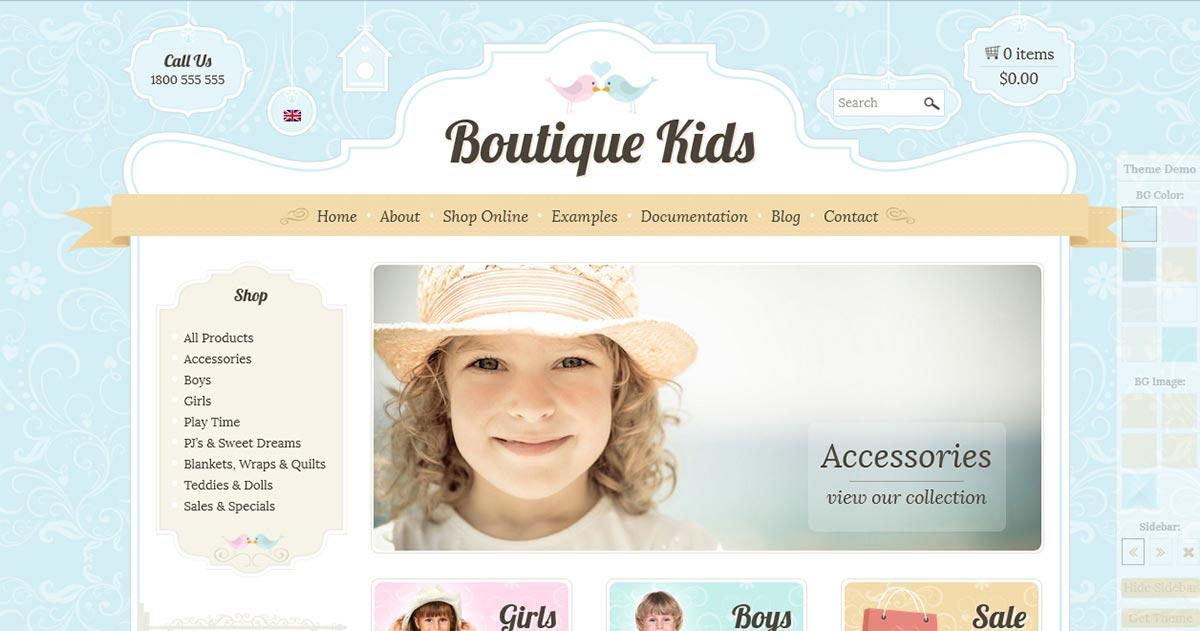 WordPress шаблон детского интернет магазина Boutique Kids Creative