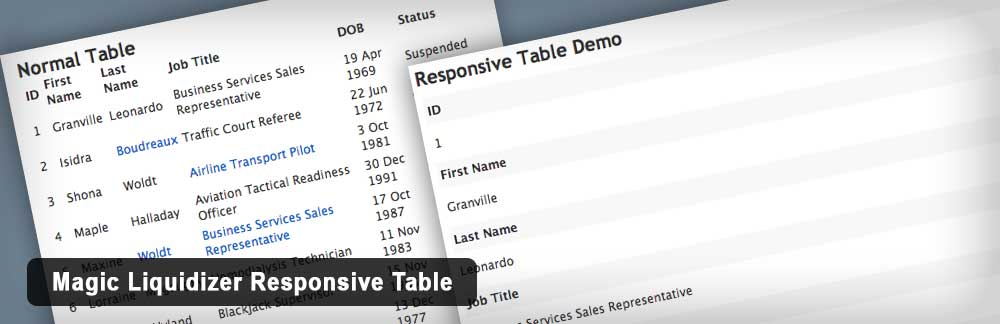 Плагин Magic Liquidizer Responsive Table для WordPress