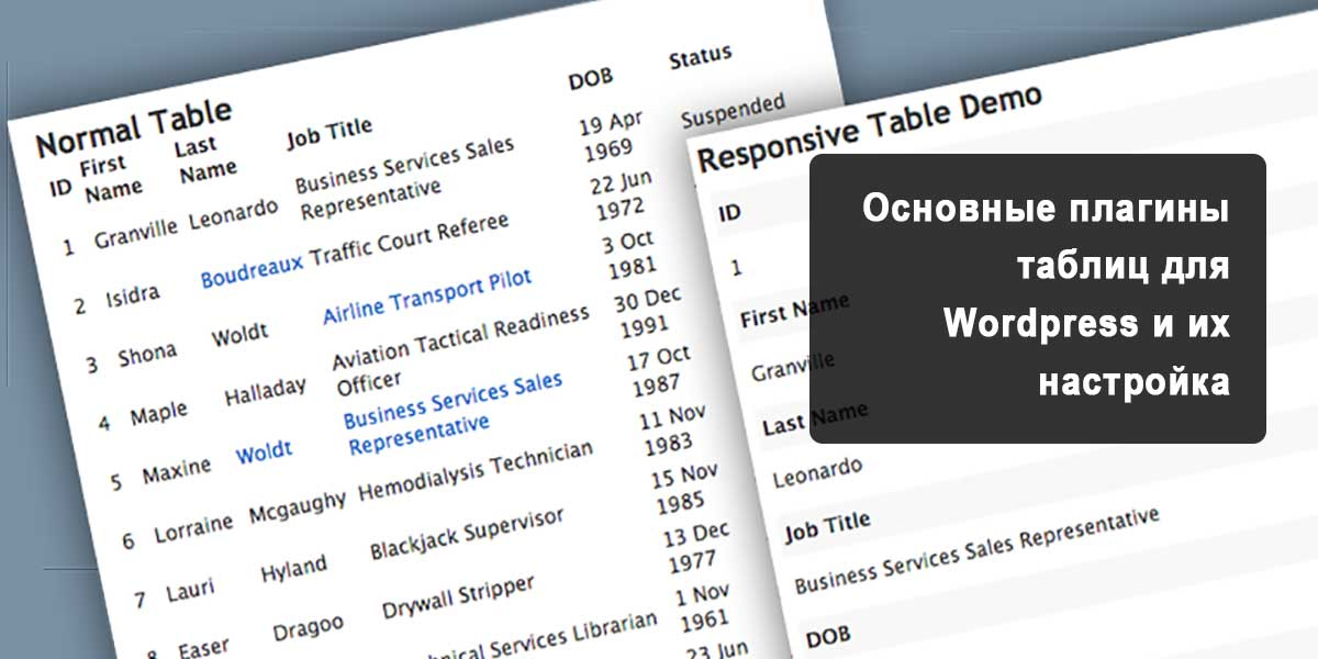 Основные плагины таблиц для wordpress