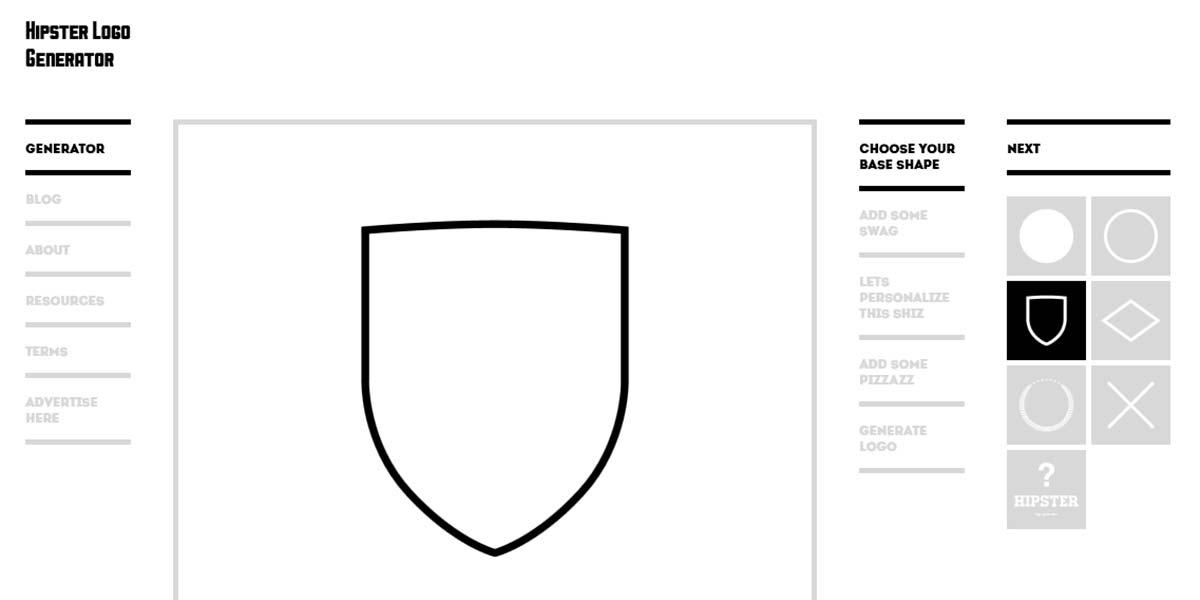 Страница онлайн генератора логотипов Hipster