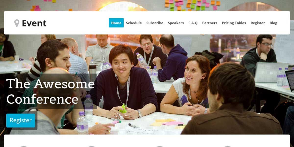 Премиум WordPress шаблон landing page Event