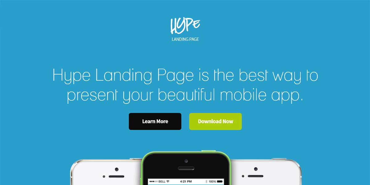 Wordpress App landing page шаблон Hype
