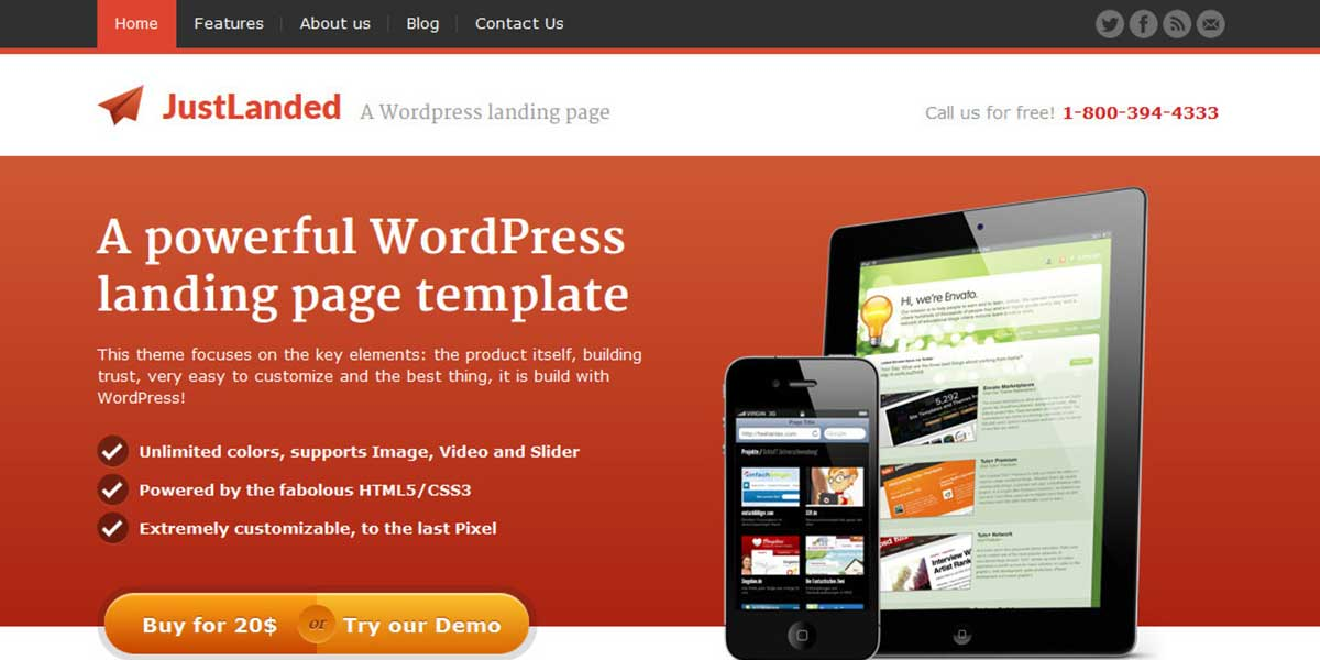 Популярная премиум wordpress тема landing page JustLanded
