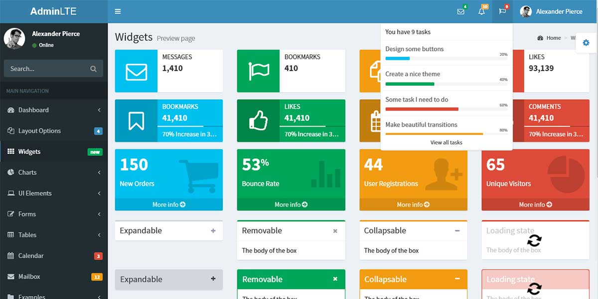 Bootstrap шаблон админки AdminLTE 2