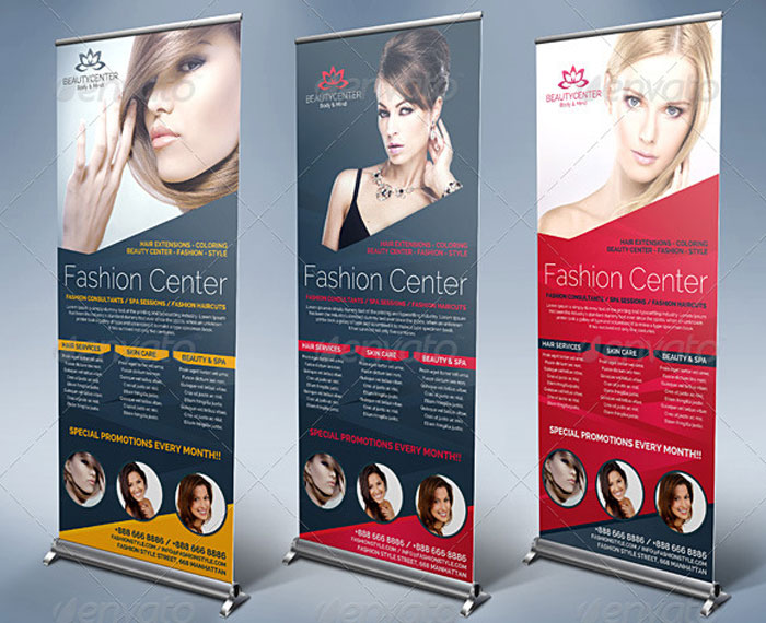 Шаблон баннеров Roll-Up бизнес центра салона красоты и СПА