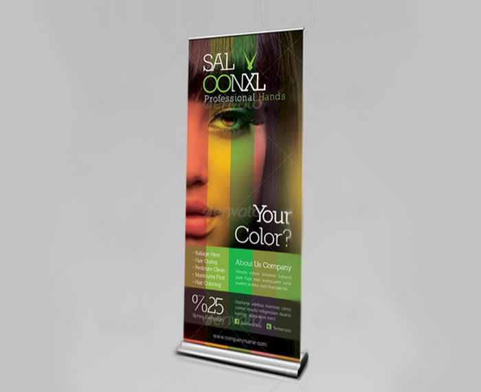 Шаблон рекламного баннера Roll-Up салона красоты