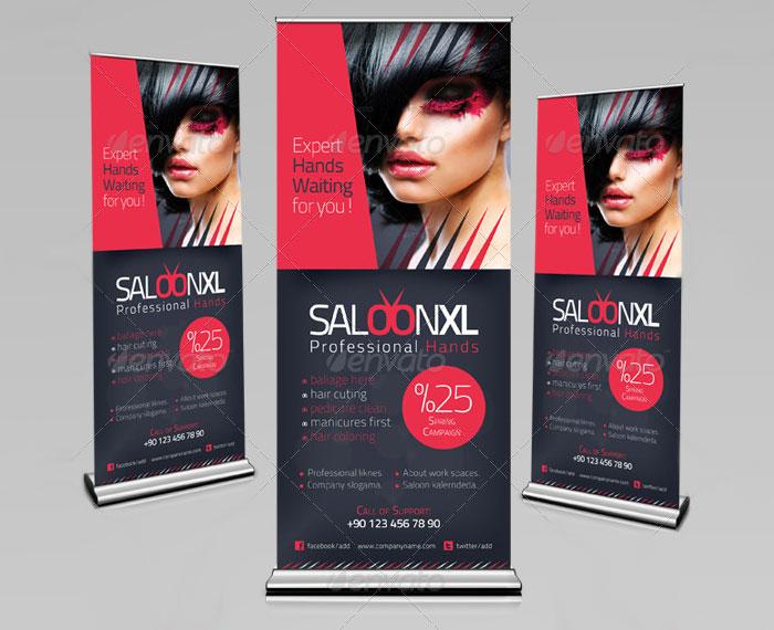 Шаблон стойки рекламного баннера Roll-Up салона красоты