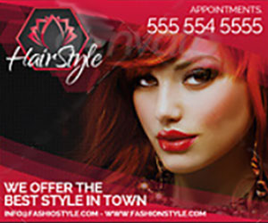 Рекламные веб баннеры парикмахерская, мода и стиль