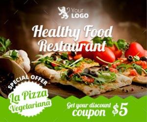 Шаблоны баннеров для рекламы ресторана здоровой пищи