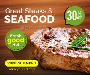 Шаблоны баннеров ресторана стейки и блюда из морепродуктов