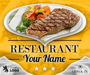 Шаблоны баннеров для рекламы ресторана в интернет и фейсбуке