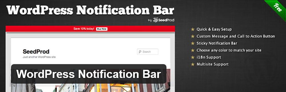 Плагин WordPress Notification Bar на русском