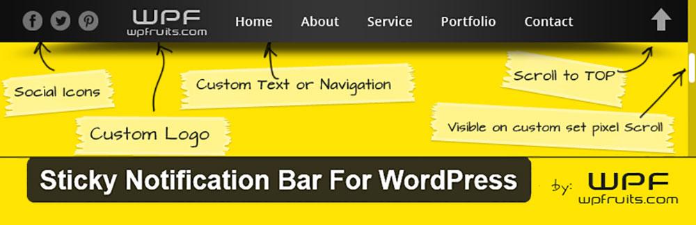 Плагин Sticky Notification Bar For WordPress
