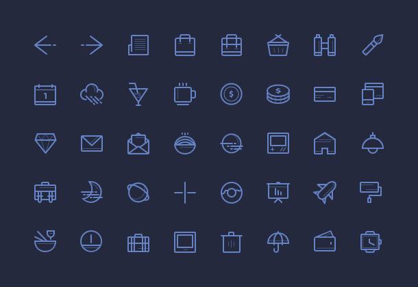 40 тонких иконок в формате ai и svg