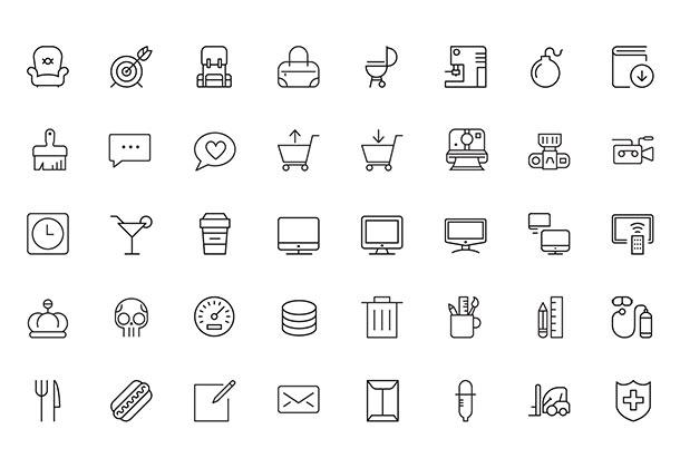 100 классных тонких иконок