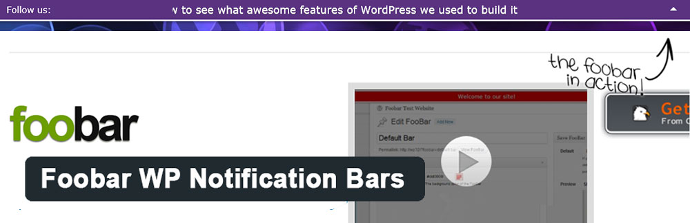 Плагин Foobar - WordPress Notification Bars