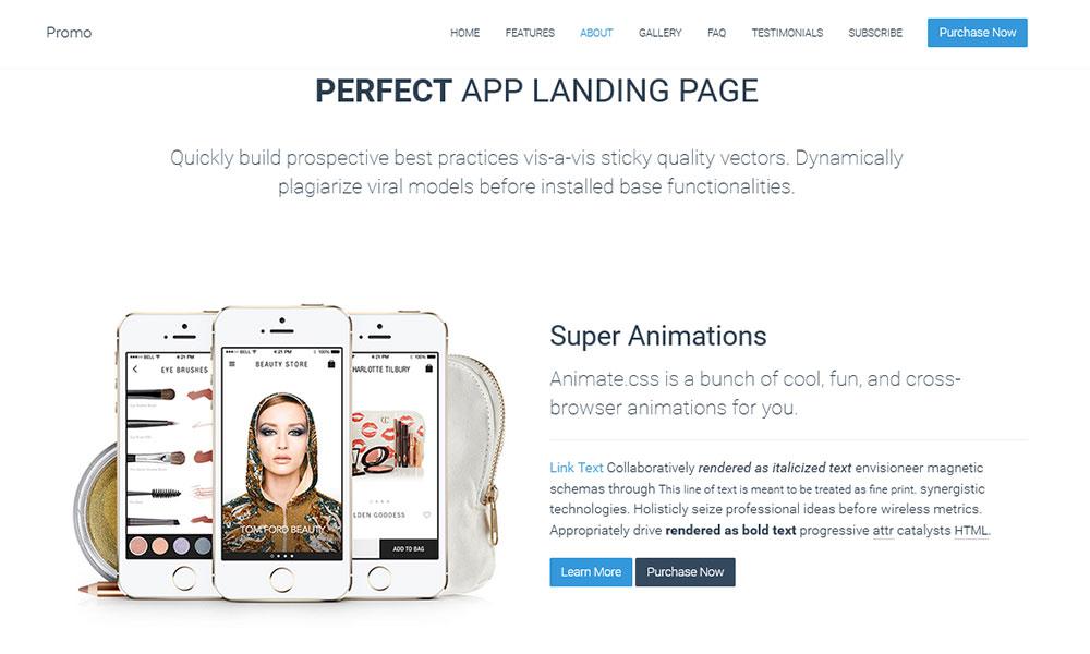 Html шаблон Landing Page Promo