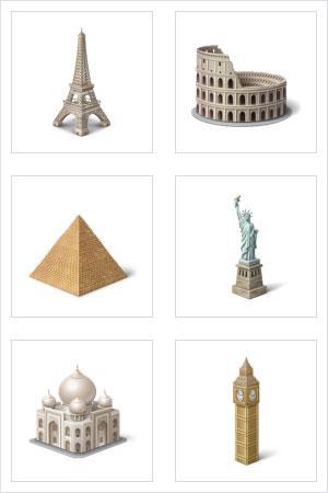 3D иконки исторические достопримечательности