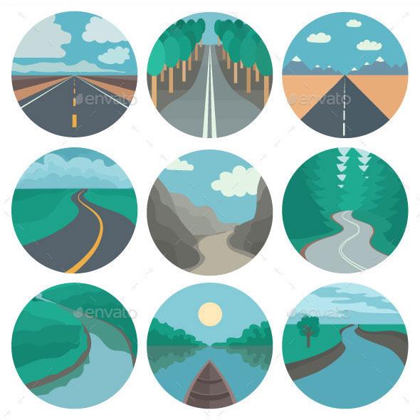 Иконки путешествия на колесах