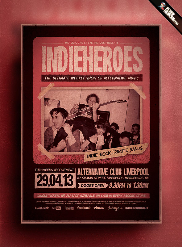 Шаблон PSD листовки IndieHeroes