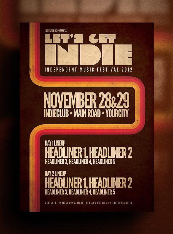 Музыкальный шаблон флаера Let's Get Indie