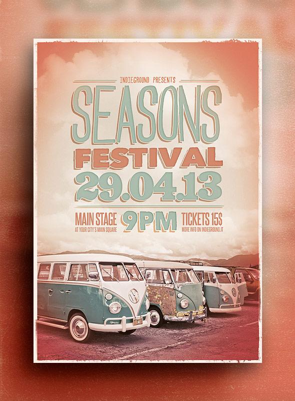 Музыкальный PSD шаблон флаера Seasons Festival