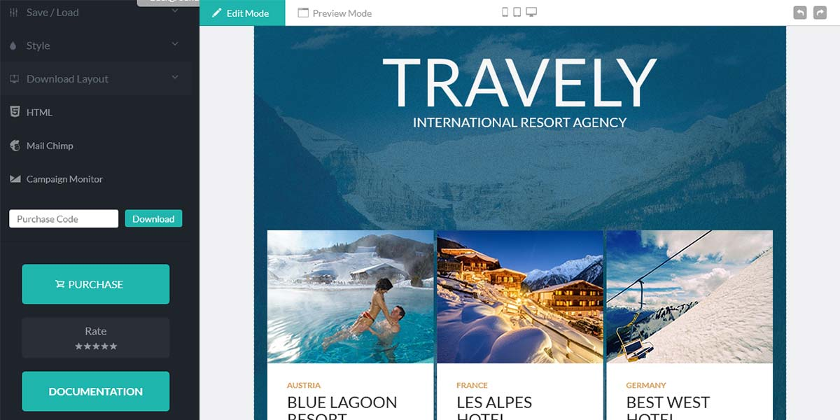 Travely - конструктор шаблонов Email и Landing Page для туризма