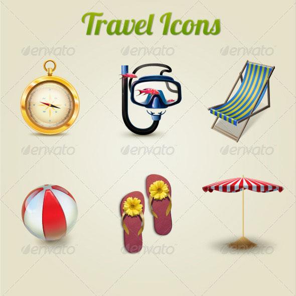 Иконки туризм и летний отдых