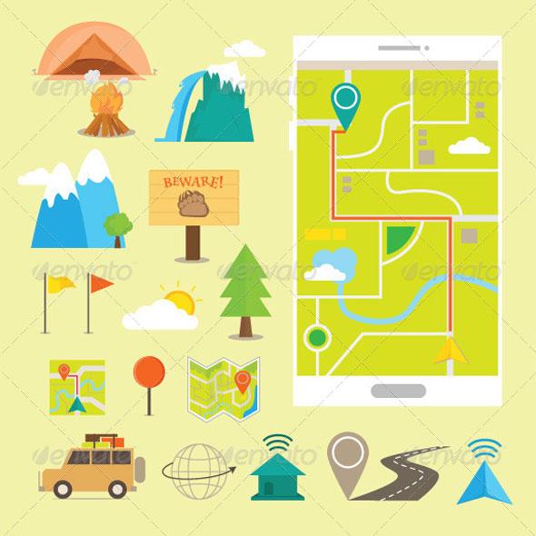 Иконки путешествия и навигация