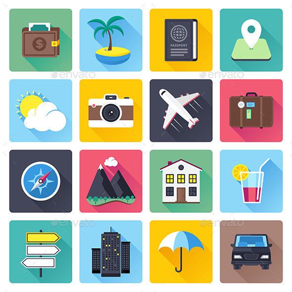 Плоские иконки каникулы