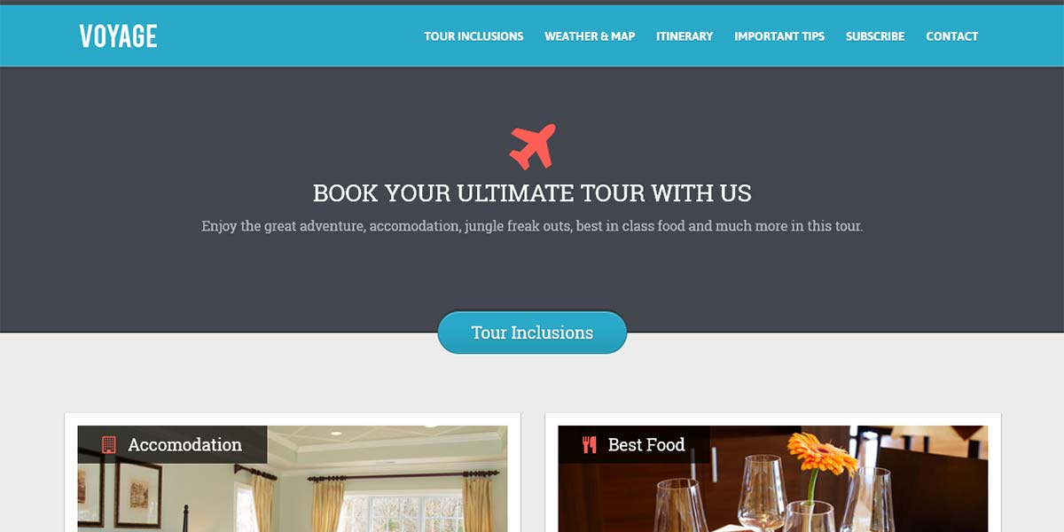Voyage - туристический, адаптивный Landing Page шаблон 1 вариант