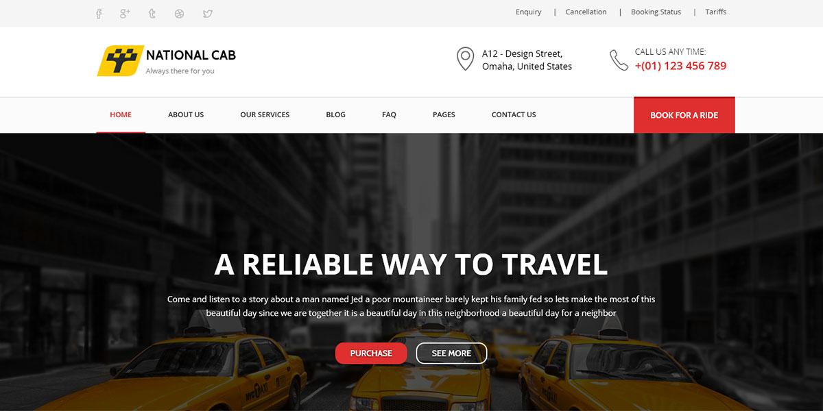Полный Html шаблон такси на Bootstrap - TaxiCab