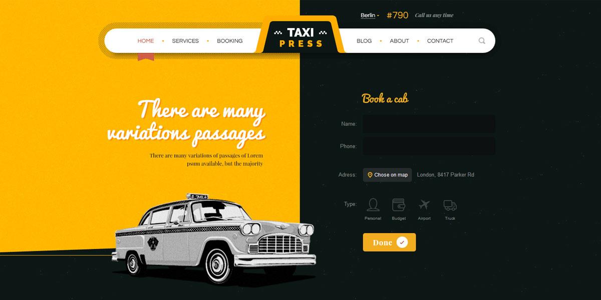 Стильный HTML5 шаблон компании такси  - TaxiPress
