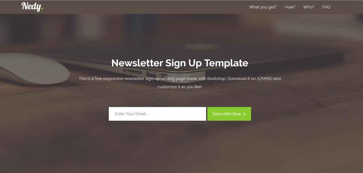 Бесплатный шаблон Landing Page для подписки на email рассылку Nedy
