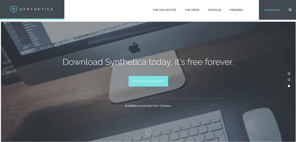 Спокойный, одностраничный Html шаблон Synthetica на Bootstrap