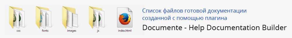 Список файлов архива созданных в Help Documentation Builder