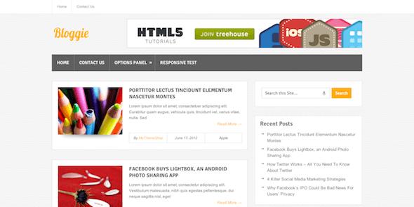 Бесплатный блоговый WordPress шаблон Bloggie