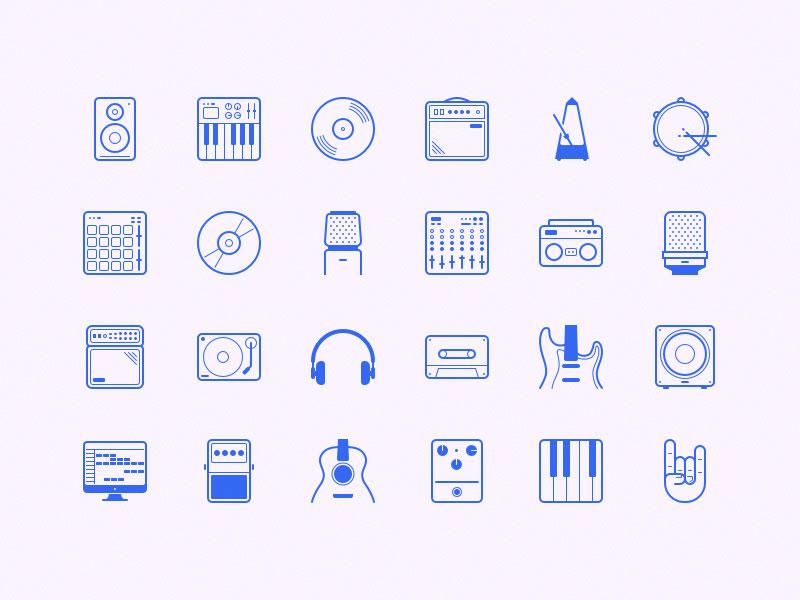 векторные иконки музыкальная студия