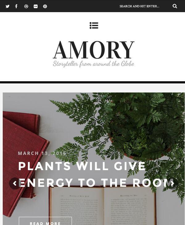 Amory - премиум wordpress шаблон для личного блога