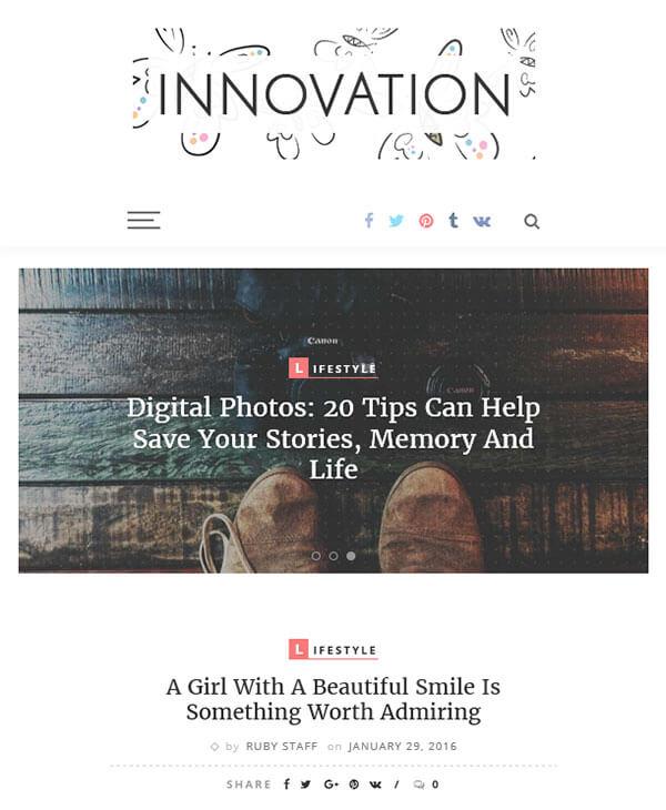 INNOVATION - wordpress шаблон для личного блога