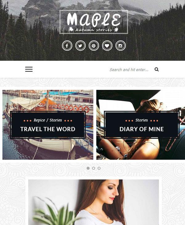 Maple - адаптивный wordpress шаблон для личного блога