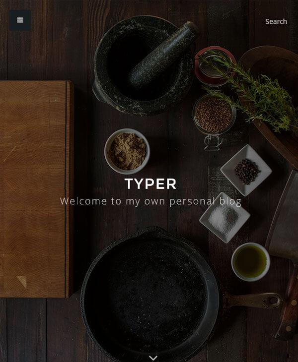 Typer - минималистичный wordpress шаблон для личного блога