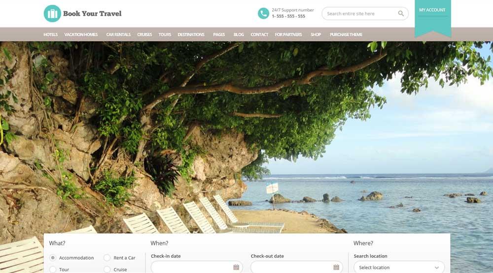 WordPress шаблон Book Your Travel онлайн бронирование в сфере Туризма
