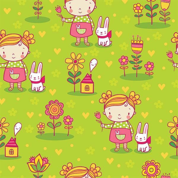Детский фон девочка, цветы и зайчик