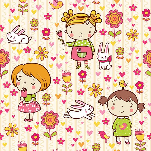 Фон для детского сайта Девочка и кролик
