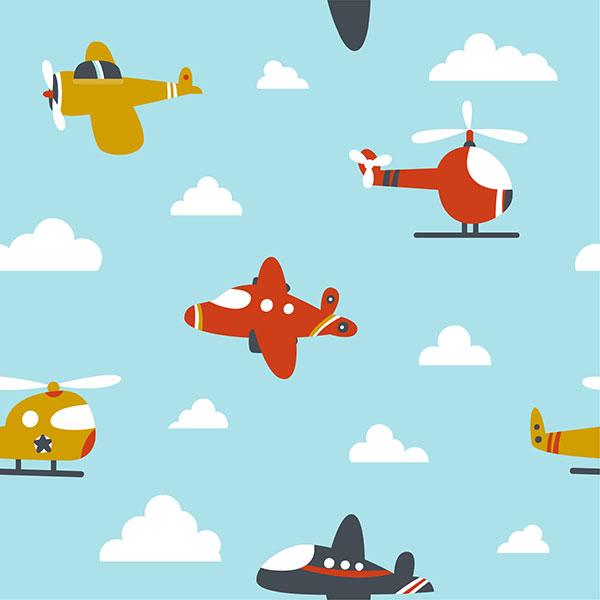 Детский фон самолетики в голубом небе